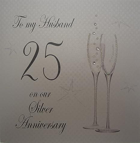 Anniversario Di Matrimonio Lingua Inglese.White Cotton Cards P25h Biglietto D Auguri Al Marito Per 25