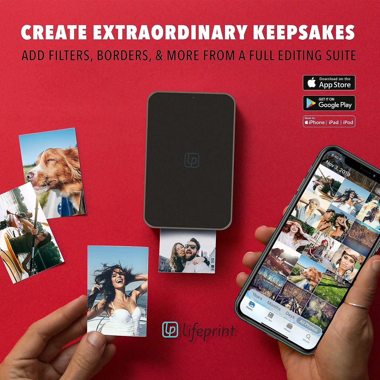 Impresora instant/ánea port/átil Bluetooth de fotos Suite de edici/ón y aplicaci/ón de redes sociales v/ídeos y GIF con tecnolog/ía de inserci/ón de v/ídeos Impresora Lifeprint Ultra Slim
