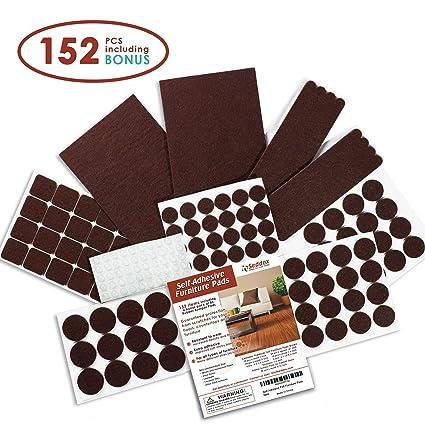 Seddox PREMIUM Felt Furniture Pads Set   152 Pieces Including Bonus Rubber  Bumper Pads   Self
