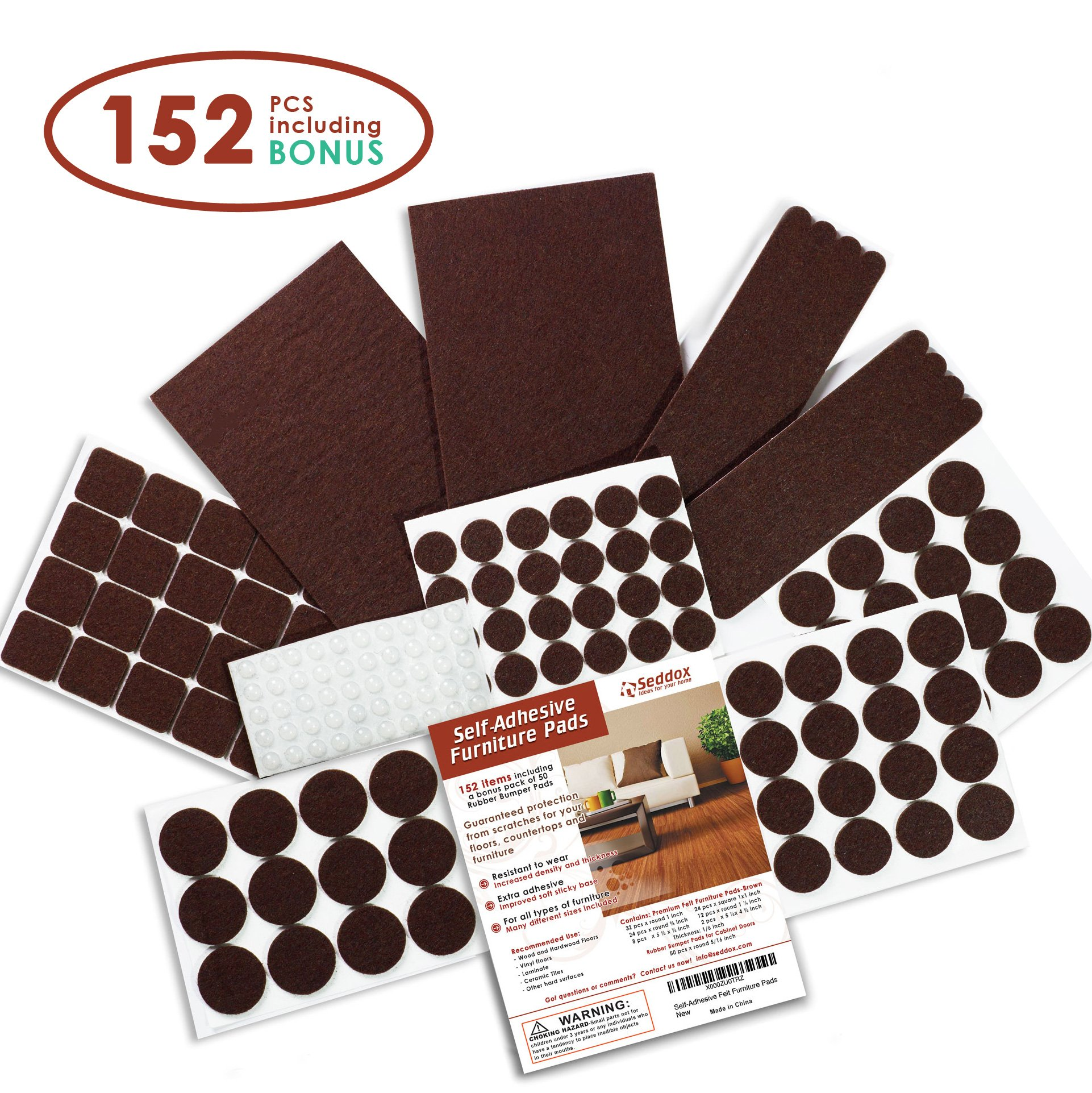 Seddox PREMIUM Felt Furniture Pads Set - 152 pieces Including Bonus Rubber Bumper Pads - Self Stick Extra Adhesive Hardwood Floor Protectors, Felt Pads for Furniture Feet Brown