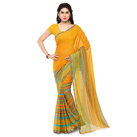 31aa6abce96 Anand Sarees Georgette Saree with Blouse Piece (1164 2 Multicoloured Free  size)  Amazon.in  Clothing   Accessories