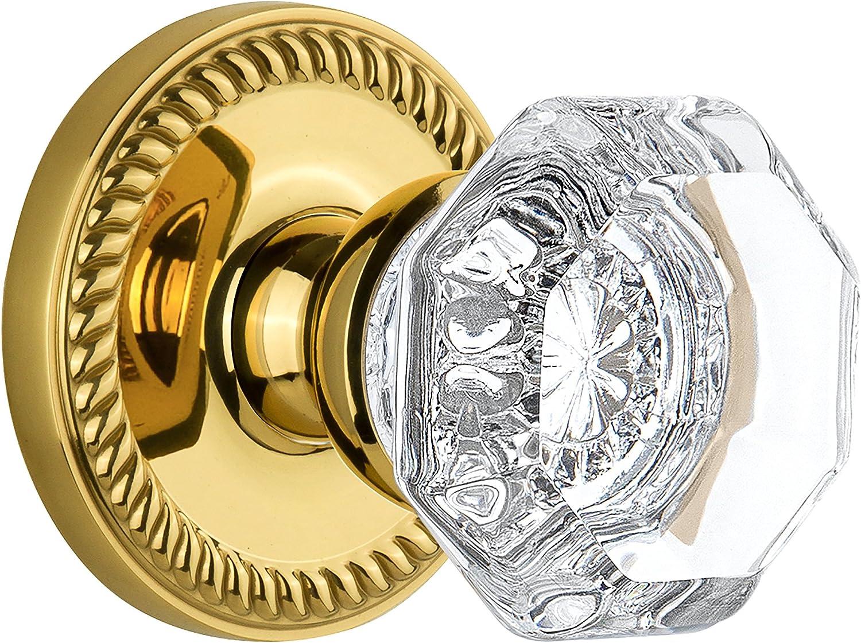 Grandeur Windsor Plate with Chambord Crystal Knob Single Dummy Polished Brass