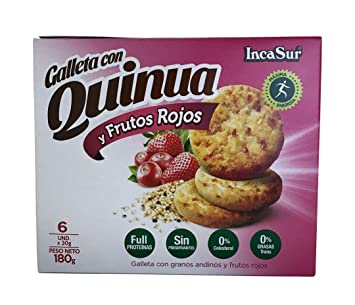 IncaSur Quinoa Cookies with Red Fruits 6 Count Each - 180 grams Each (2 packs