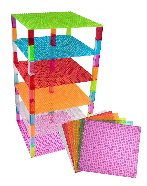 Strictly Briks Premium-Bauplatten - mit Allen Großen Marken Kompatibel - 6 Stück - 10 x 10 (25,4 x 25,4 cm) - Grün, Blau 4 cm) - Grün P05410X106PACKBASEPLATE1