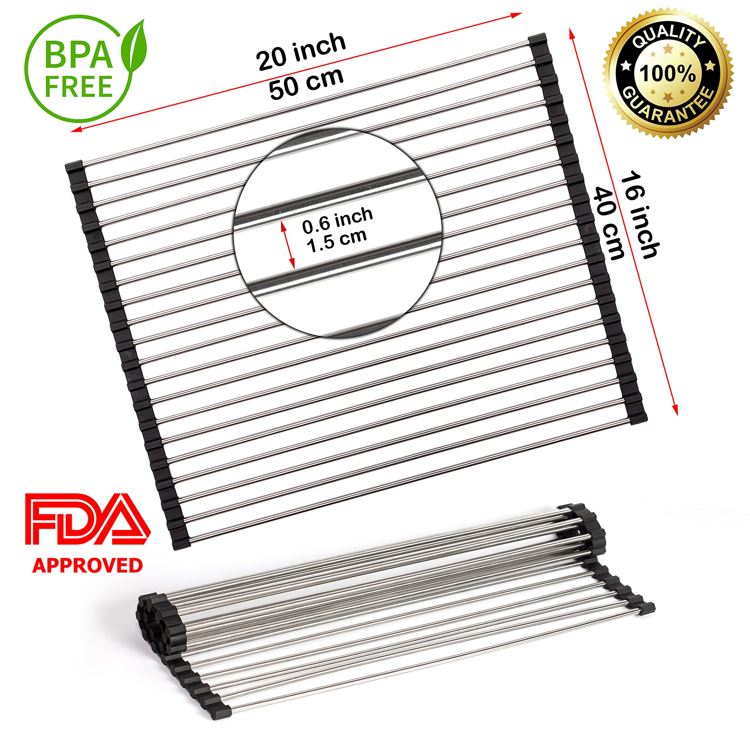 Roll-Up Dish Drying Rack 20''(L) x 16''(W) (50 x 40cm) - Foldable Multipurpose Heat Resistant Large Stainless Steel Kitchen Rollup Dish Drainer Over Sink Mat - Silicone Coated Rims