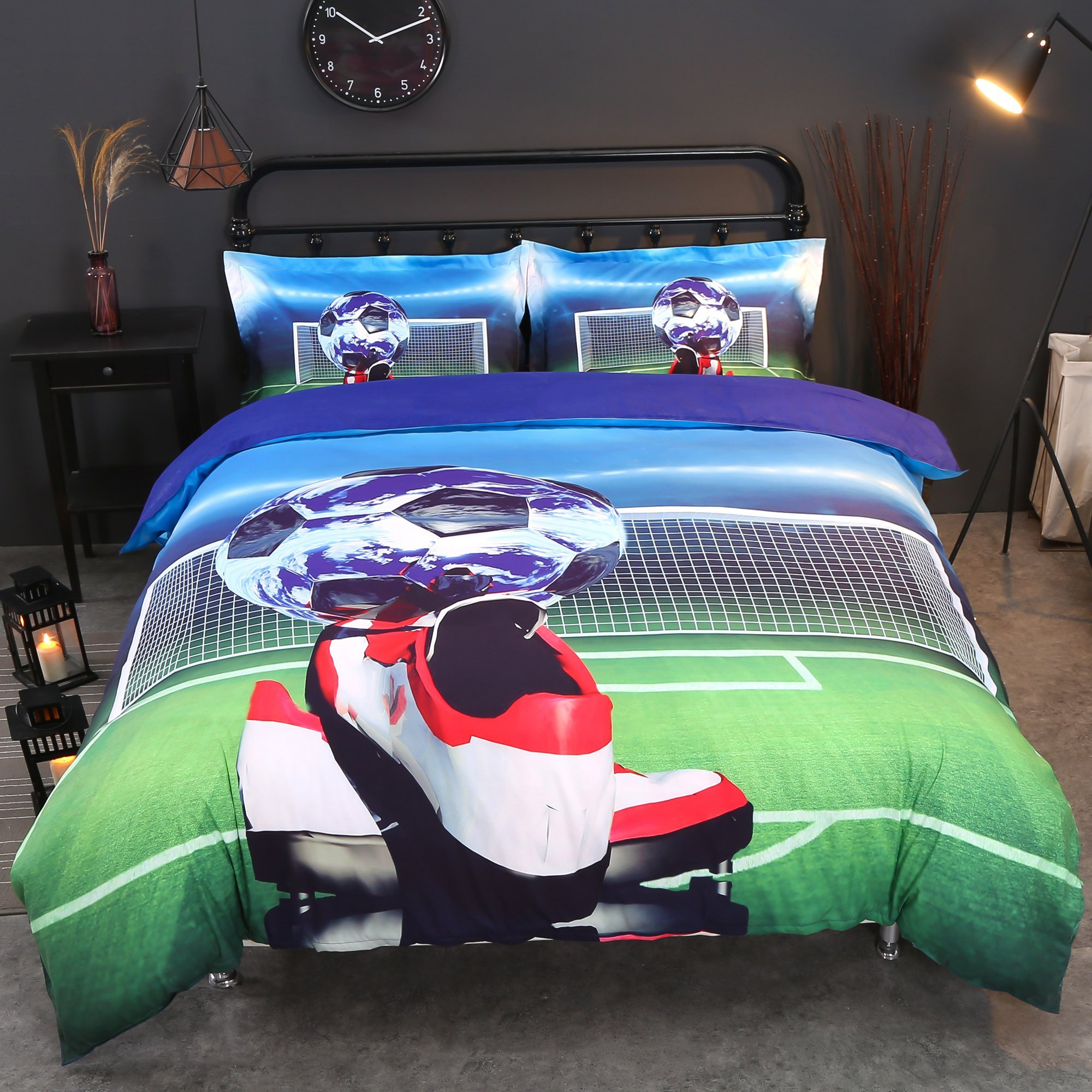 Alicemall 3D Football Bedding Unique Soccer Ball and Shoes Printed Cotton 4-Piece Duvet Cover Set, Full Size Boys College Bedding Set (Full, Soccer&Shoes)