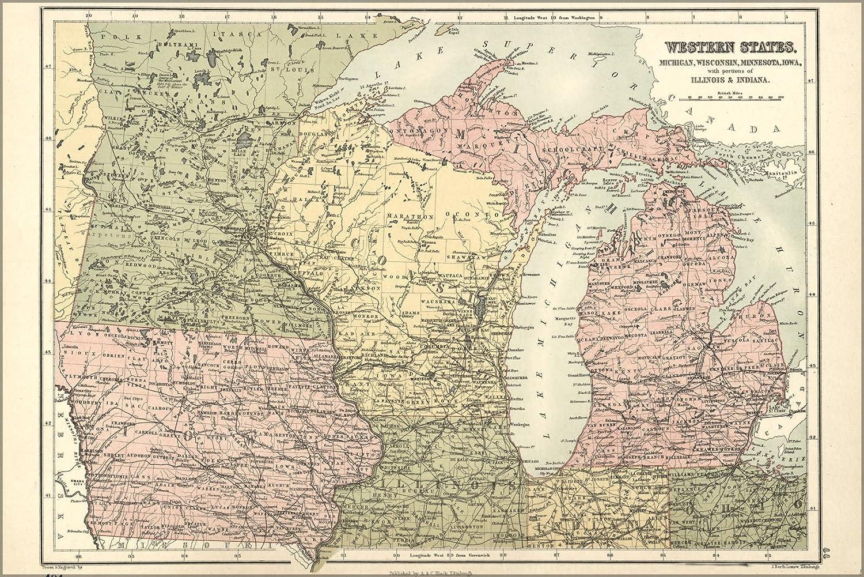 Michigan And Wisconsin Map.Amazon Com 16x24 Poster Map Of Michigan Wisconsin Minnesota