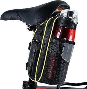 Selighting Bolsa de Sillin Bicicleta, Bolsa Bicicleta Montaña Alforja Bolsa Trasera Bicicleta Impermeable con Compartimento Botella (Verde): Amazon.es: Deportes y ...