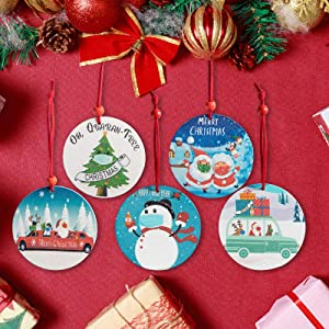 2020 Christmas Ornaments, 3 Inch Santa Claus Xmas Merry Christmas Decorations Newest Theme Creative Gift Tree Ornament Kit Hanging Accessories for Indoor Outdoor Decor 5 PCS (5PCS Styles)