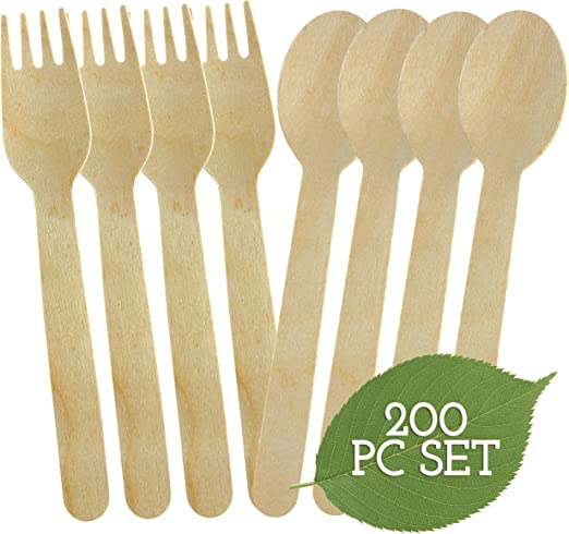 100 Pcs Disposable Wooden Spoons Eco Friendly Biodegradable Compostable Cutlery