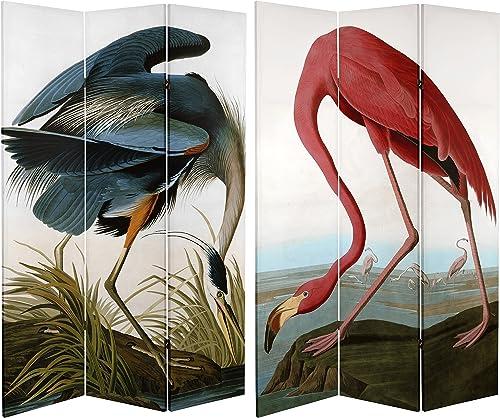 ORIENTAL Furniture Tall Double Sided Audubon Heron Flamingo Canvas Room Divider, 6