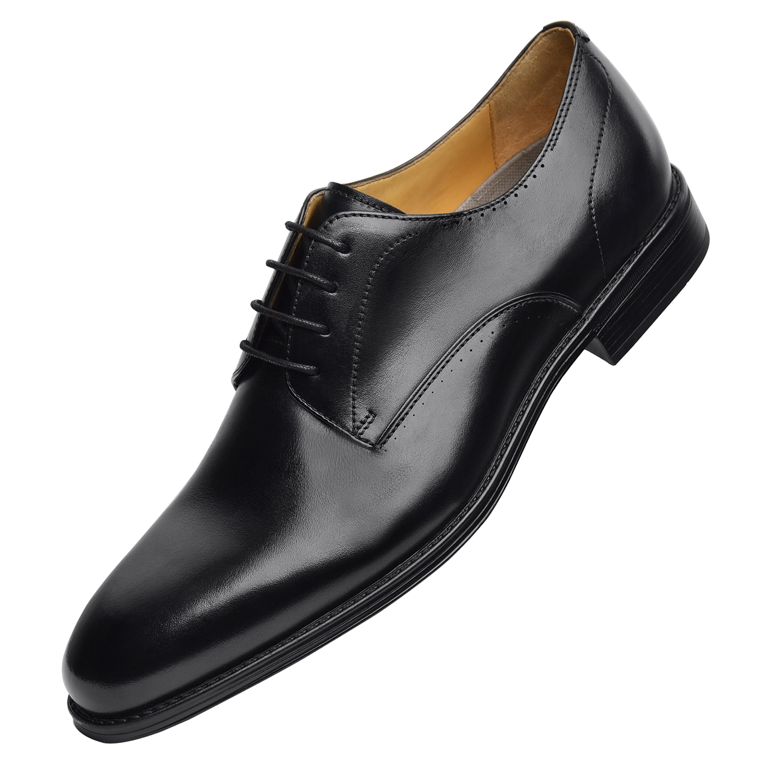 COMOTEK Mens Dress Shoes with Comfort Removable Soft Leather Insoles, 2018 Classic Oxford Design, Handcrafted by Full Grain Leather-Andros, Black, US10.5-1