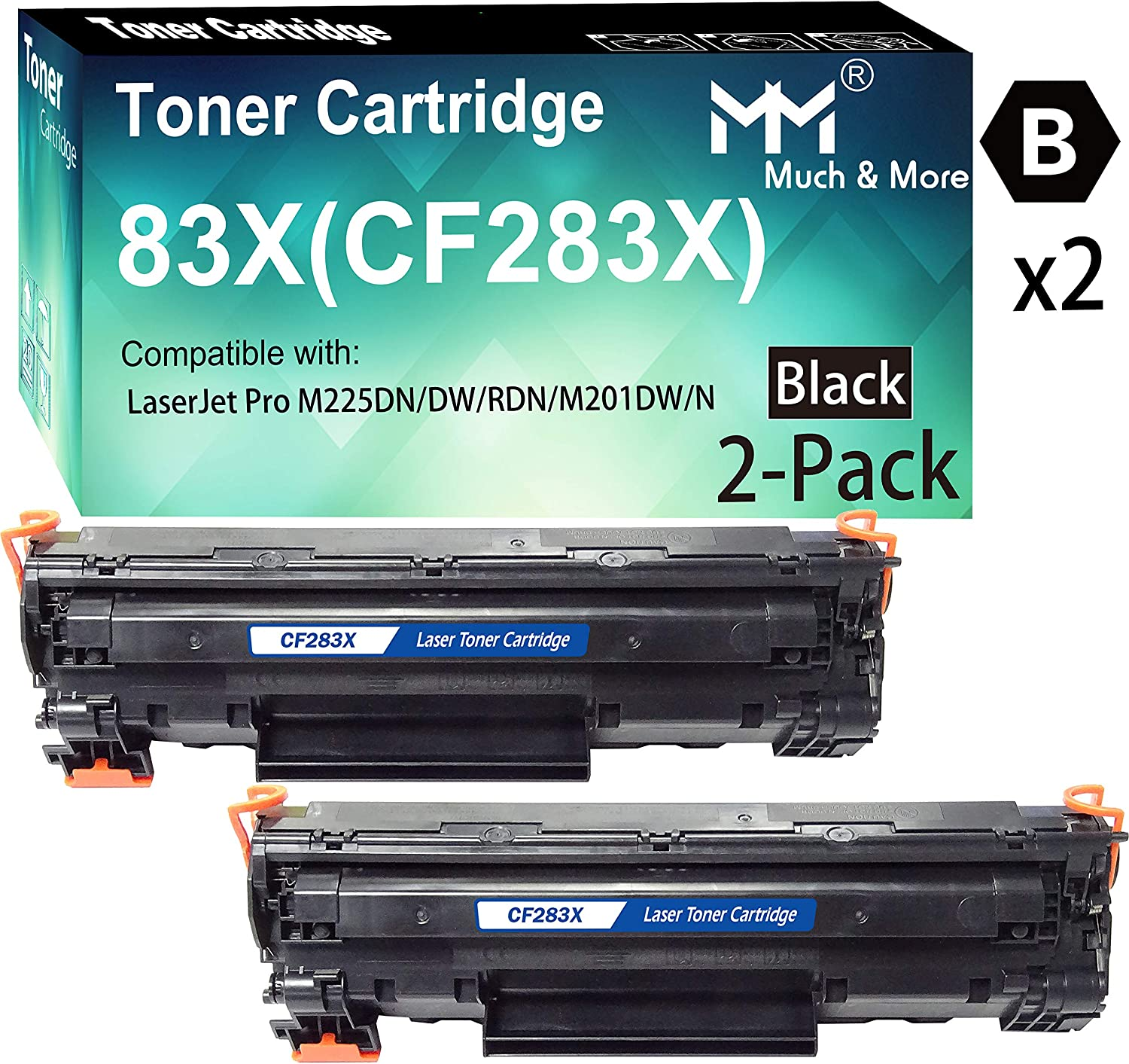 (2-Pack, Black) Compatible 283X CF283X Toner Cartridge 83X Used for HP Laserjet Pro M201 M201dw M225dn M225dw Printer, by MuchMore