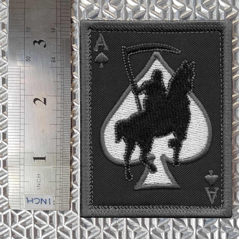 2AFTER1 ACU Subdued Ace of Spades Grim Reaper Death Card Morale Tactical Skull Skeleton Fastener Patch