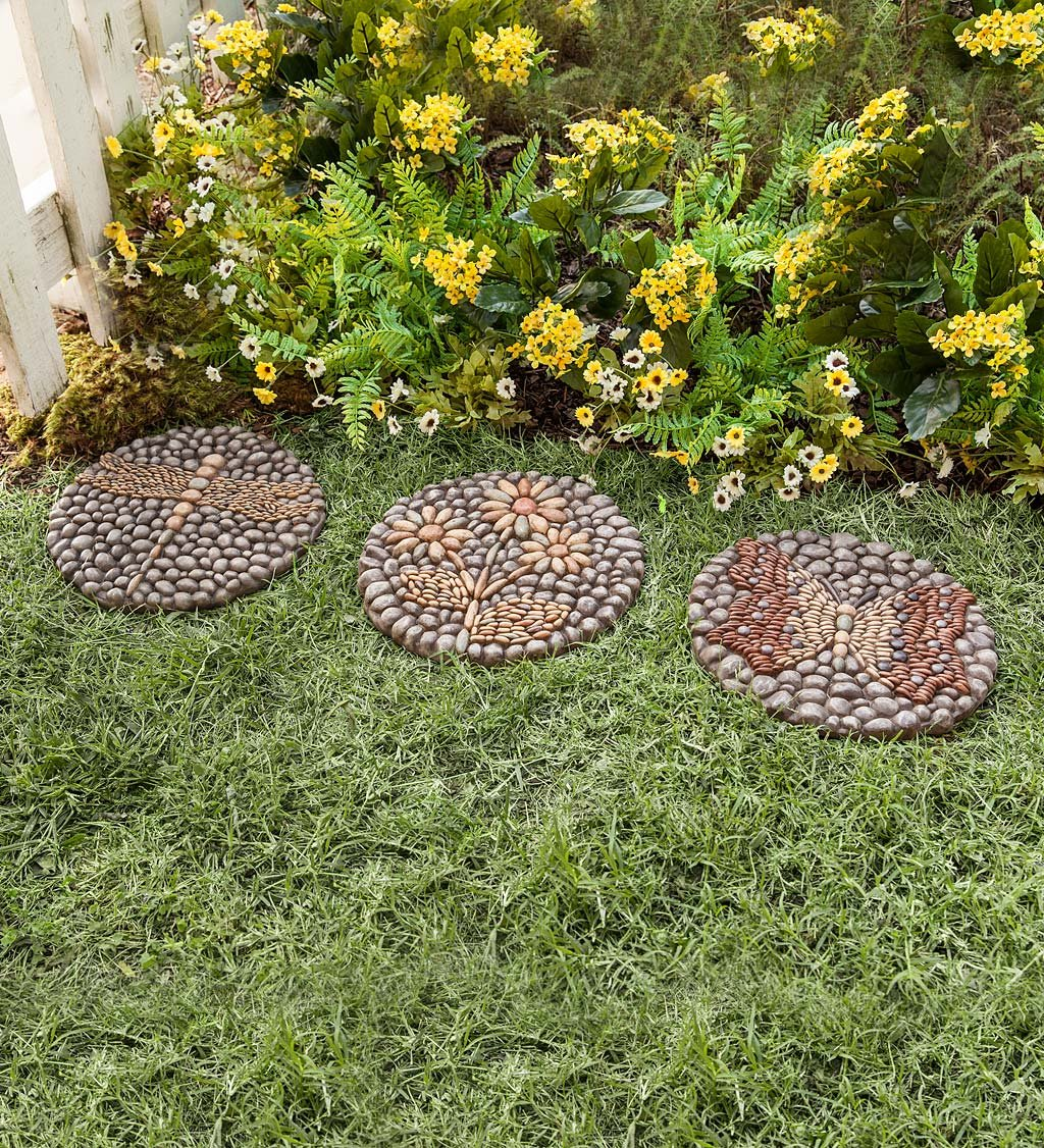 Set of 3 Mosaic Style Resin Rock Garden Stepping Stones with Dragonfly, Butterfly, and Flower Designs, 10.75 L x 10.75 W x 0.75 H