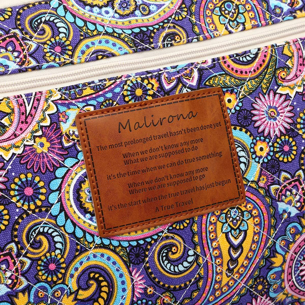 Malirona Women's Canvas Overnight Weekender Bag Carry On Travel Duffel Tote Bag Bohemian Flower (Purple Flower) by Malirona (Image #7)