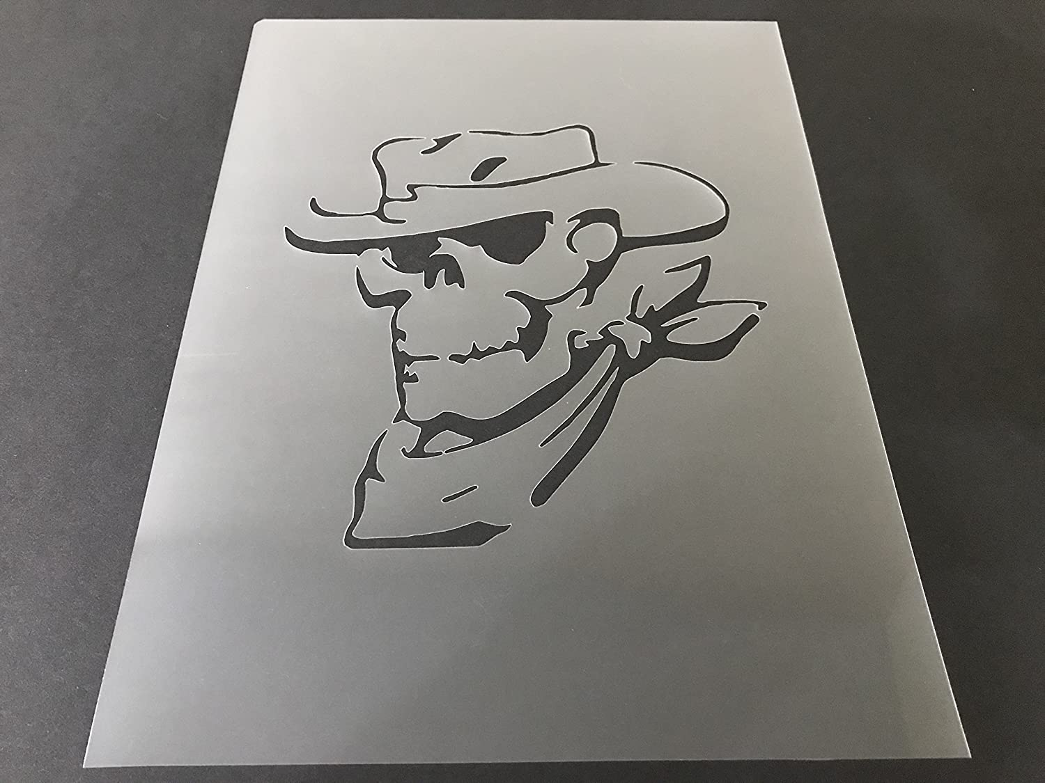 Skull Stencil #18 Reusable 10 mil Thick 7in x 9in sheet