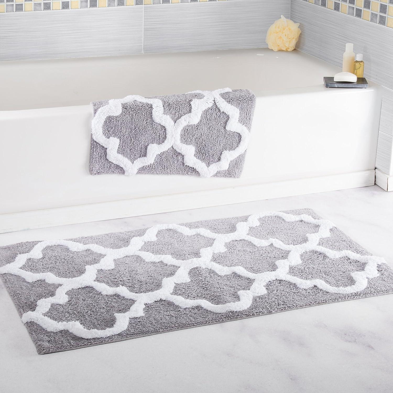 Lavish Home 100% Cotton 2 Piece Trellis Bathroom Mat Set - Silver
