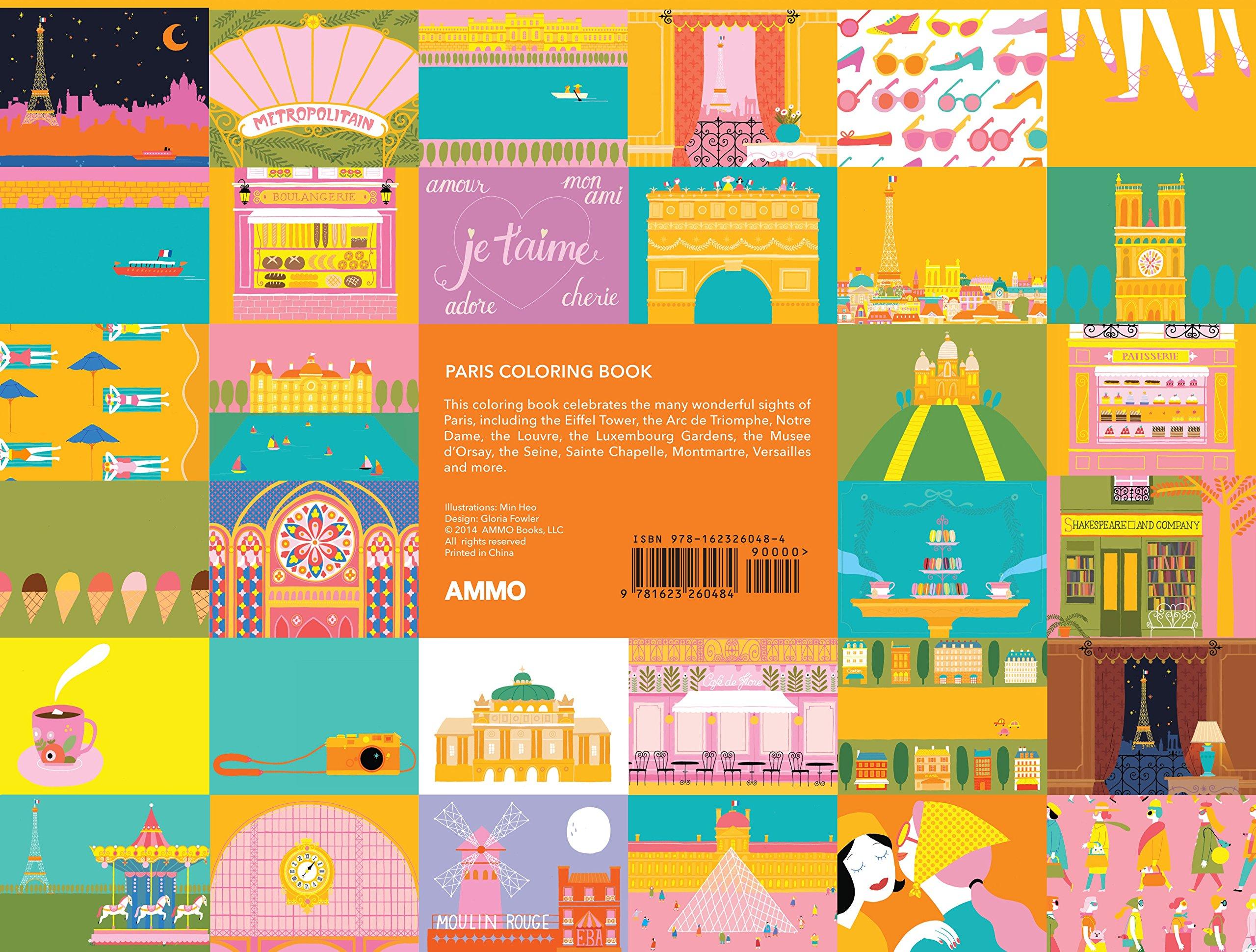 paris coloring book gloria fowler min heo 9781623260484 books amazonca - Paris Coloring Book