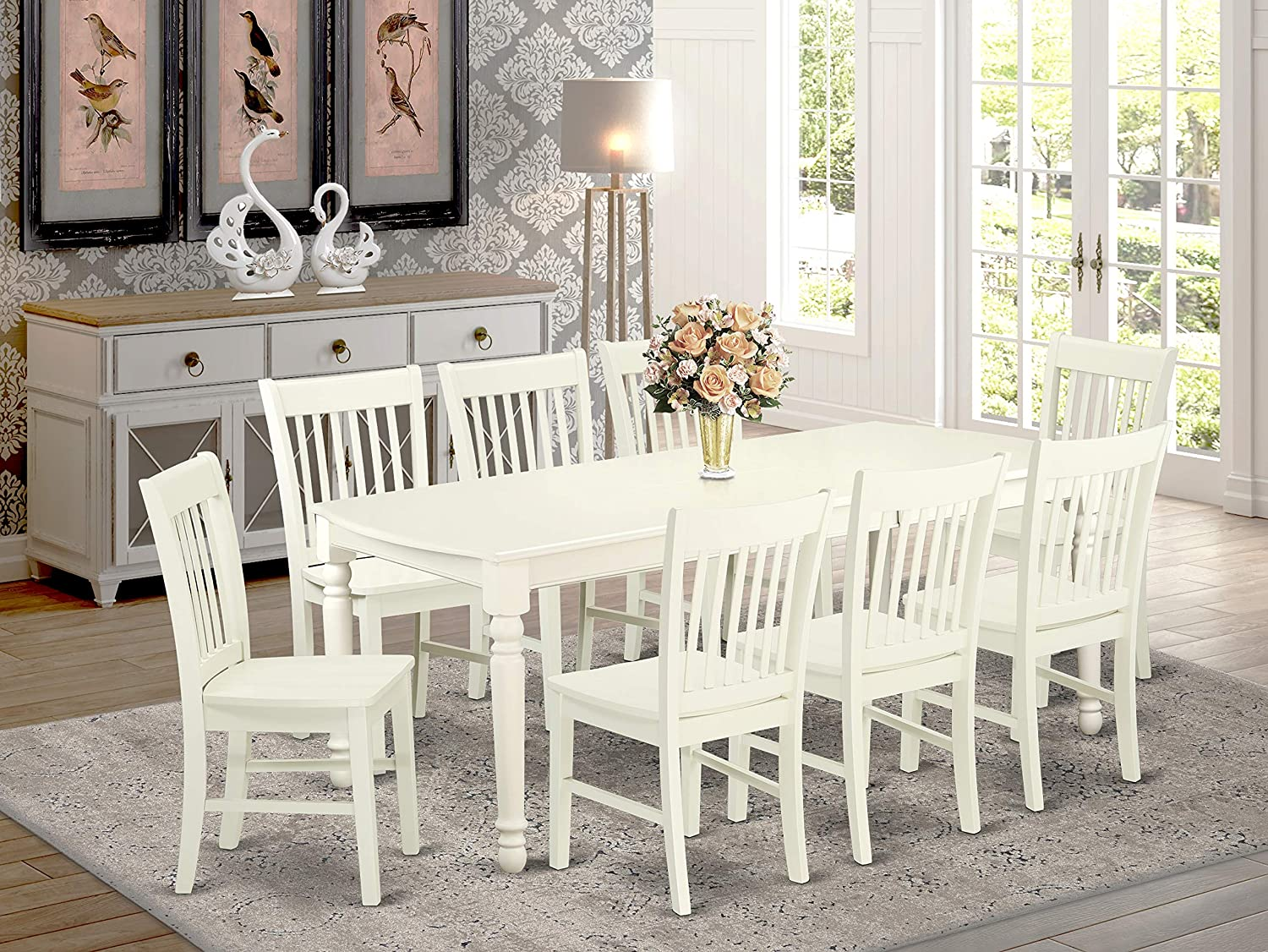 Amazon Com 9 Pc Kitchen Tables And Chair Set With One Dover Dining Table And 8 Kitchen Chairs In A Linen White Finish Furniture Decor