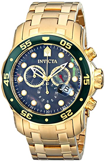Invicta 80074 Mens Pro Diver Black Dial Gold Plated Steel Bracelet Chronograph Dive Watch