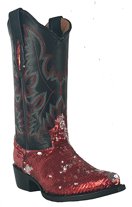 Women/'s Fantastical Shimmering Sequin Western Cowgirl Biker Boots Snip Red