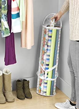 Whitmor Clear Gift Wrap Organizer - Zippered Storage for 25 Rolls