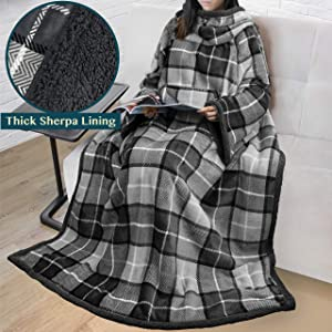 PAVILIA Premium Sherpa Fleece Blanket with Sleeves for Adult Women, Men   Cozy, Warm, Super Soft, Plush Wearable Throw for Couch, Sofa   Lightweight Microfiber Plaid Design (Charcoal)