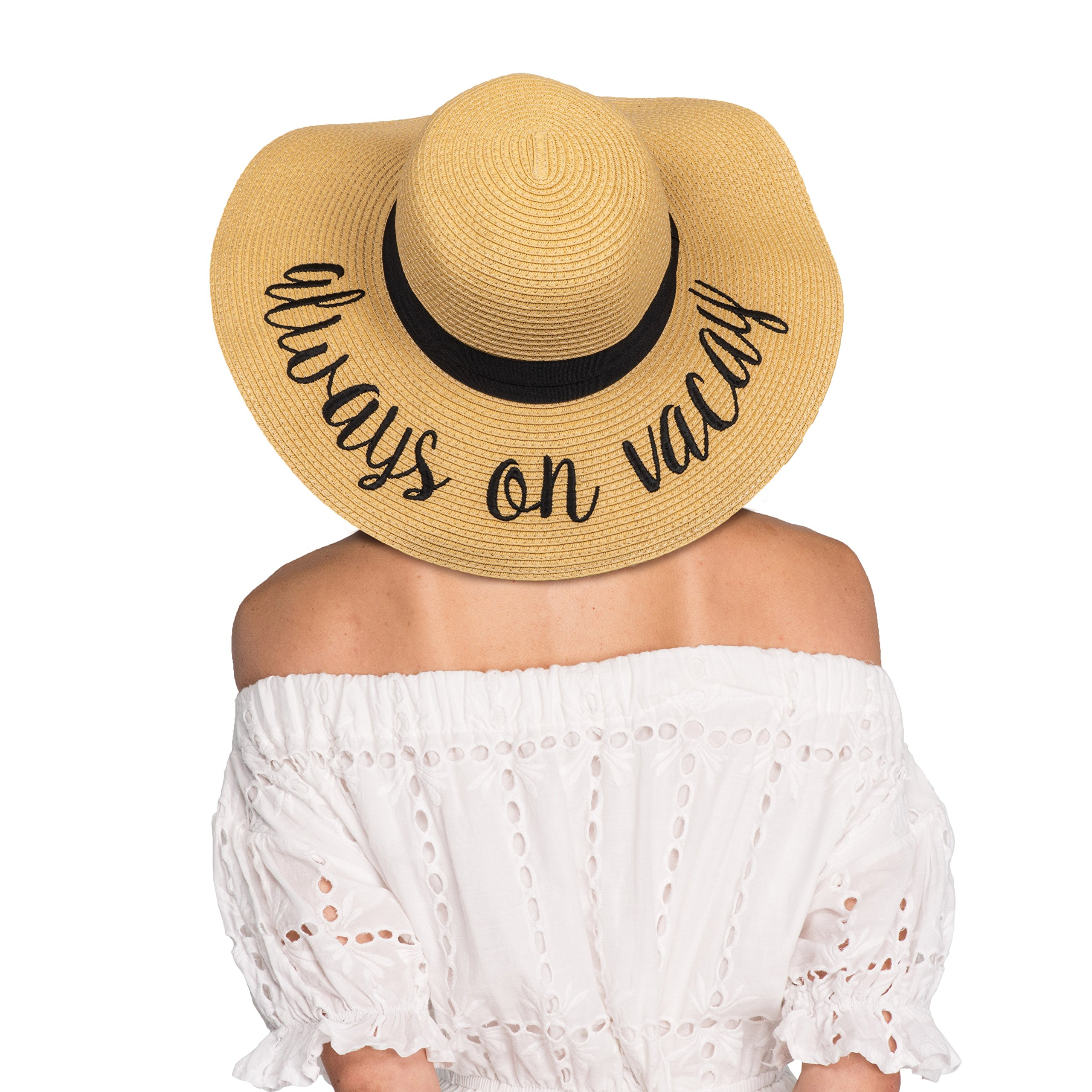 Hatsandscarf CC Exclusives Summer Lettering Straw Brim Hat with Ribbon Band (ST-2017) (Always on Vacay_amazonprime)