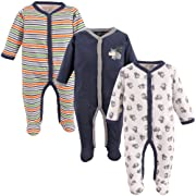 Luvable Friends Baby Snap Sleep and Play, 3 Pack, Dog, 0-3 Months
