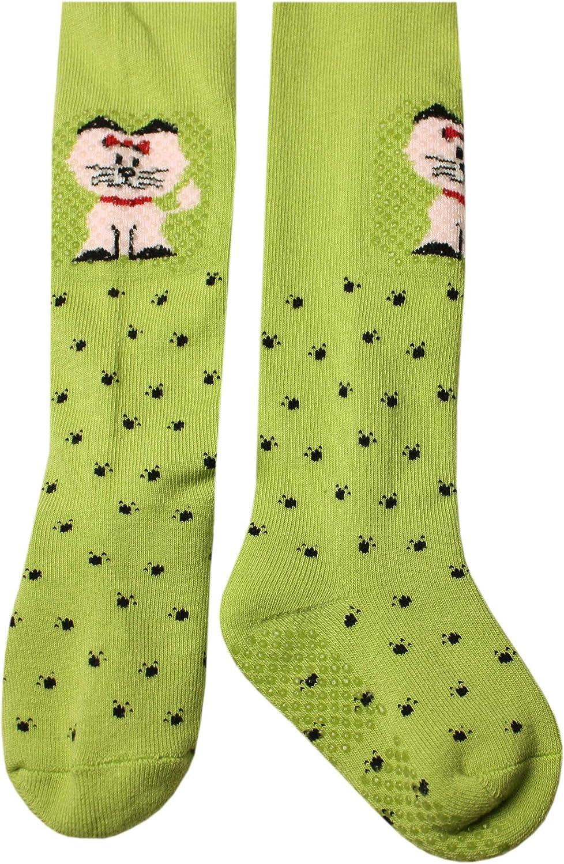 Weri Spezials ABS Krabbelstrumpfhosen Miau-miau K/ätzchen in Gr/ün Wunderschoene kleine Katze mit ABS-Sohle!