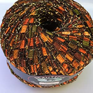 Autumn Glitz Ladder Ribbon Yarn Dark Horse Beautiful #A104 Copper Orange Green Brown Gold Metallic Ladder