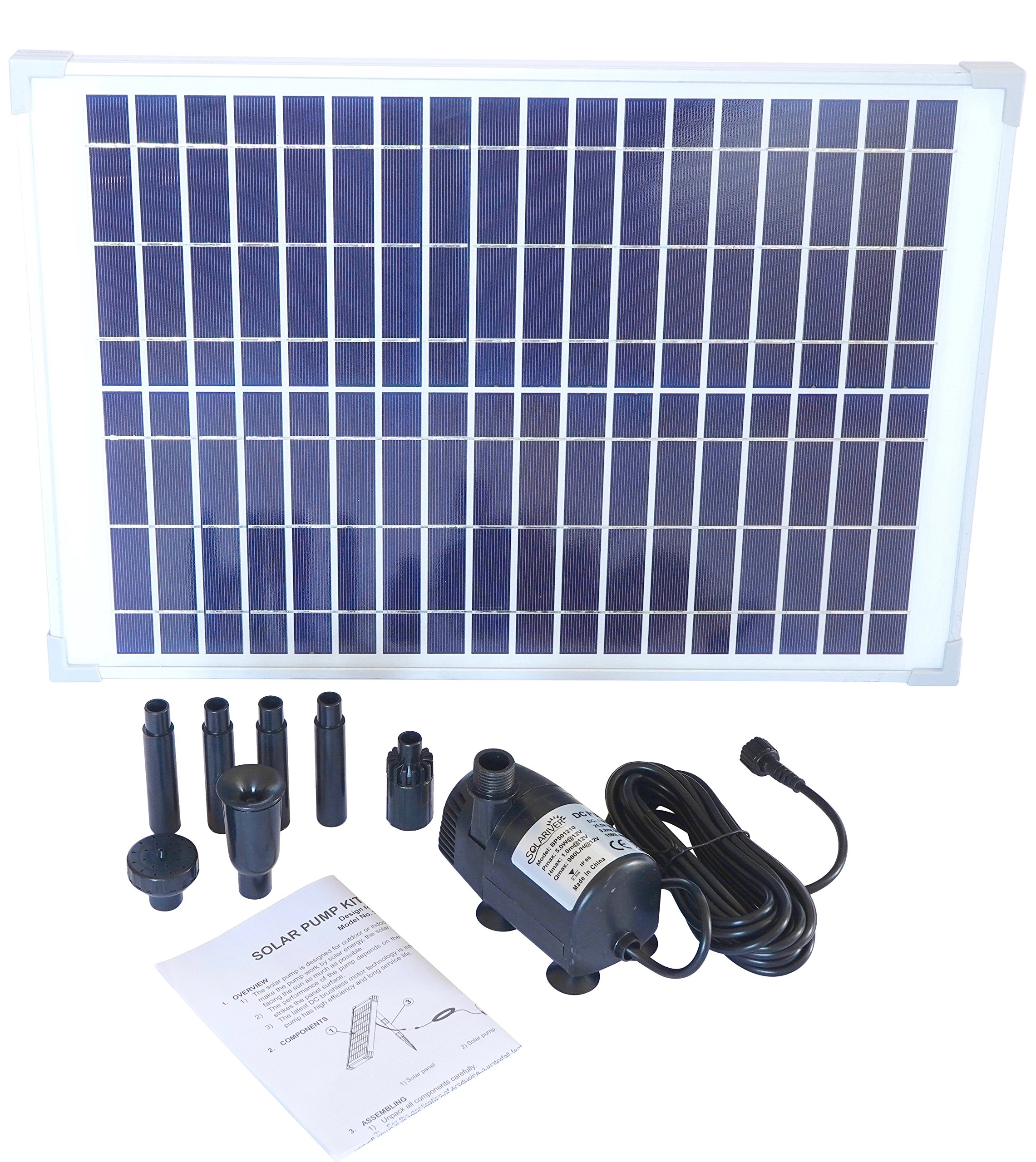 Solariver Solar Water Pump Kit - 360+GPH - Submersible Pump and 20 Watt Solar Panel for Sun Powered Fountain, Waterfall, Pond Aeration, Aquarium, Aquaculture (NO Battery Backup) by Solariver