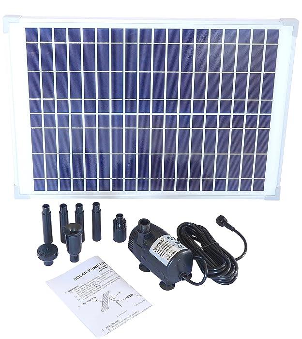 Solariver Solar Water Pump Kit - 400+GPH Submersible Pump and 20 Watt Solar Panel for Sun Powered Fountain, Waterfall, Pond Aeration, Hydroponics, Aquarium, Aquaculture (No Battery Backup)
