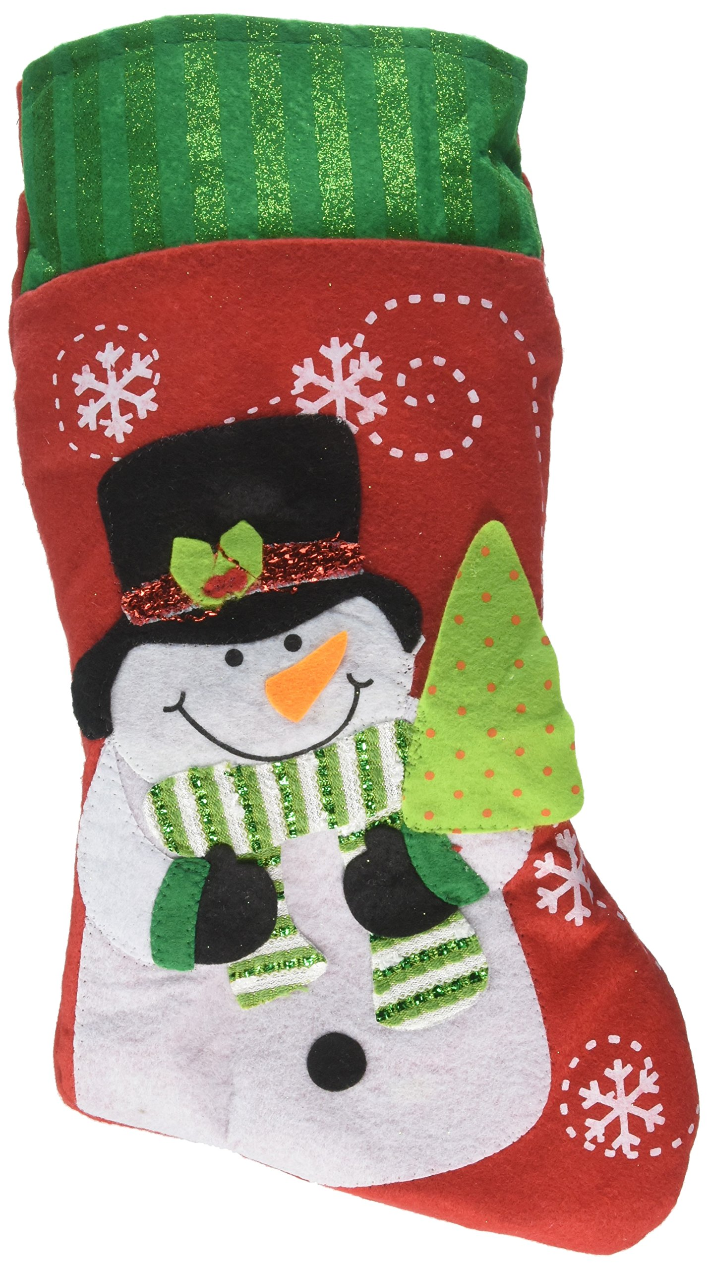 Christmas Stocking Sock, TORUBIA Christmas 3D Tree Wall Hanging Sock Larger Sock Candy bags With Lovely Santa Reindeer Snowman Decoration 8.6×21.2 Inch Perfect For Christmas Stocking (Snowman)