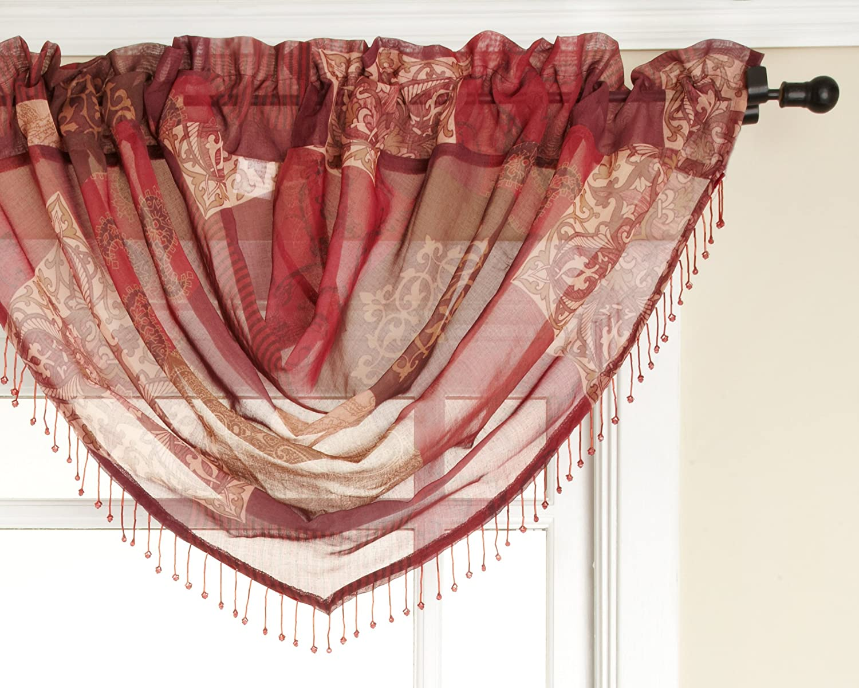 Renaissance Home Fashion Jasmine Tile Print Sheer Waterfall Valance, 47 by 38-Inch, Burgandy