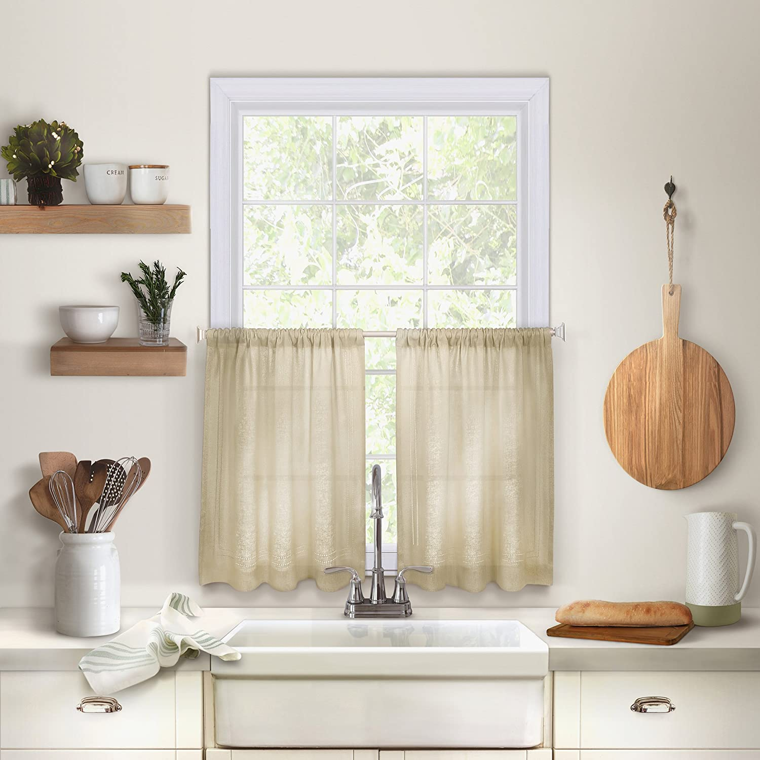 "Elrene Home Fashions 26865775389 Solid Hemstitched Rod Pocket Café/Kitchen Tier Window Curtain, Set of 2, 30"" x 36"", Linen, 30"" W x 36"" L"