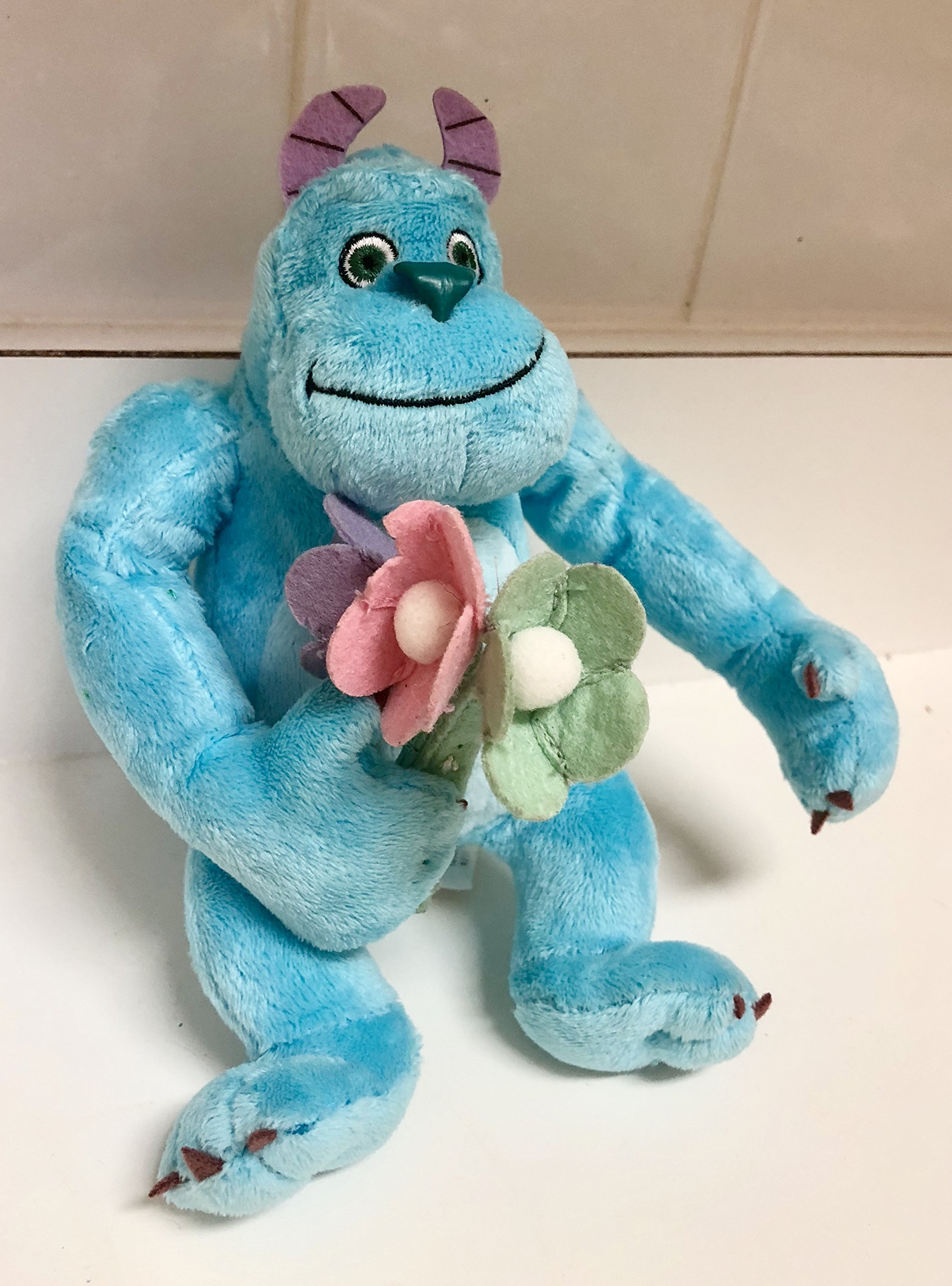 Disney Monster Inc University Sullivan Sully Sulley 7'' Plush Soft Holding Flowers Easter Spring Valentine's Stuffed Toy