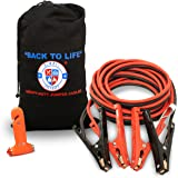 Jumper Cables 4 Gauge Extra Long (20 feet) w/Carry Bag & Emergency Auto Escape Tool | Quality Booster Battery Cable w/High Capacity (400 AMP), Tough Insulation and Alligator Clamps for Car, Truck