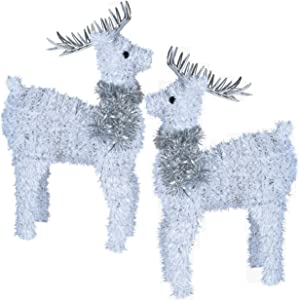 Gift Boutique 2 Holiday Reindeer Figures 12.5 Inches White Tinsel Table Decorations for Dinner Party Coffee Merry Christmas Deer Decor Happy Holiday Centerpiece