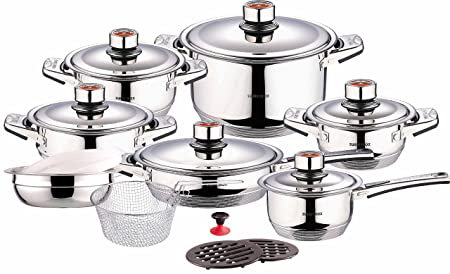 Swiss Inox Si-7000 18-Piece Stainless Steel Cookware Set