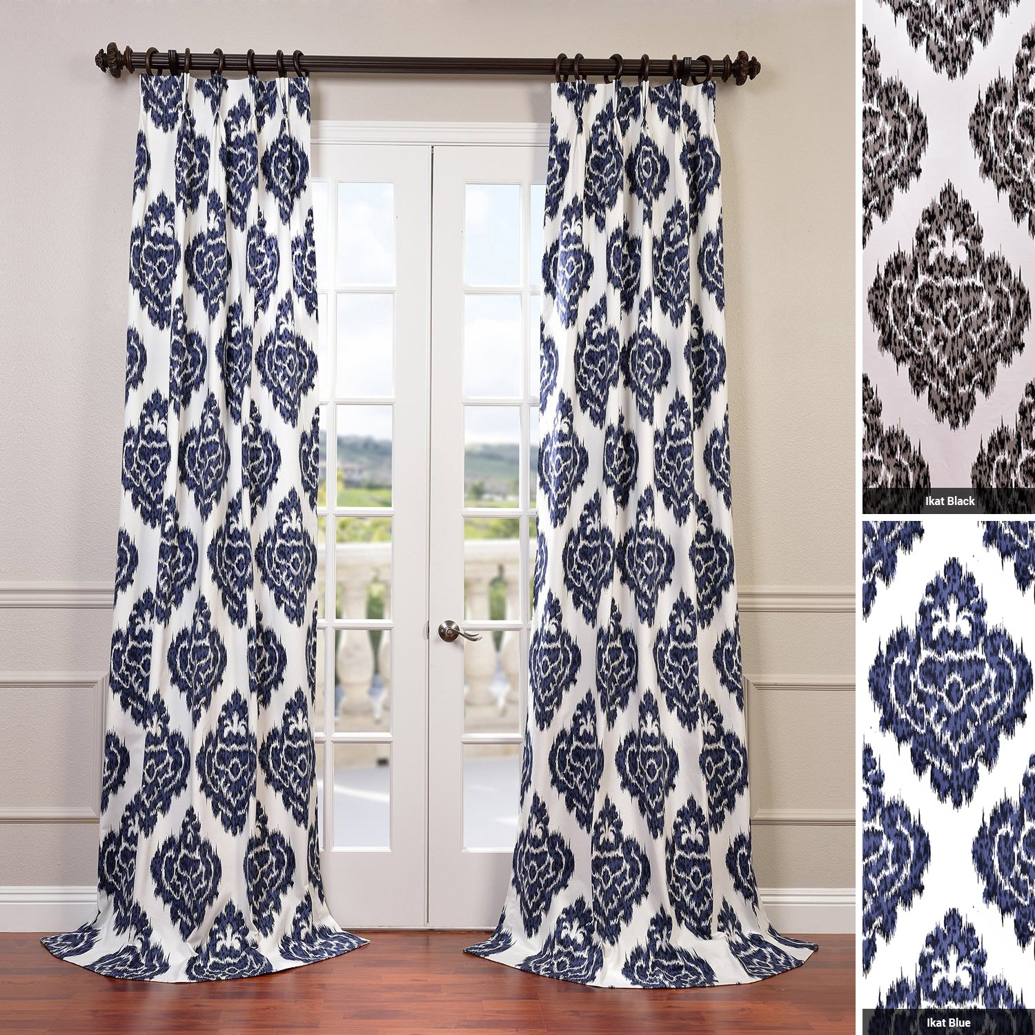 Navy ikat curtains - Amazon Com Half Price Drapes Prtw D24a 84 Printed Cotton Curtain Ikat Blue Home Kitchen