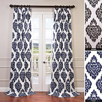 half price drapes prtwd24a108 printed cotton curtain ikat blue