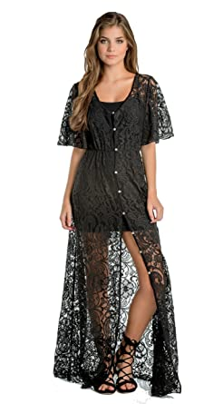 Elan Women's Lace Duster Style Short Sleeve Cardigan Robe (Small ...