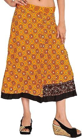 Exotic India Blazing Orange Midi Lehenga Skirt With Beads