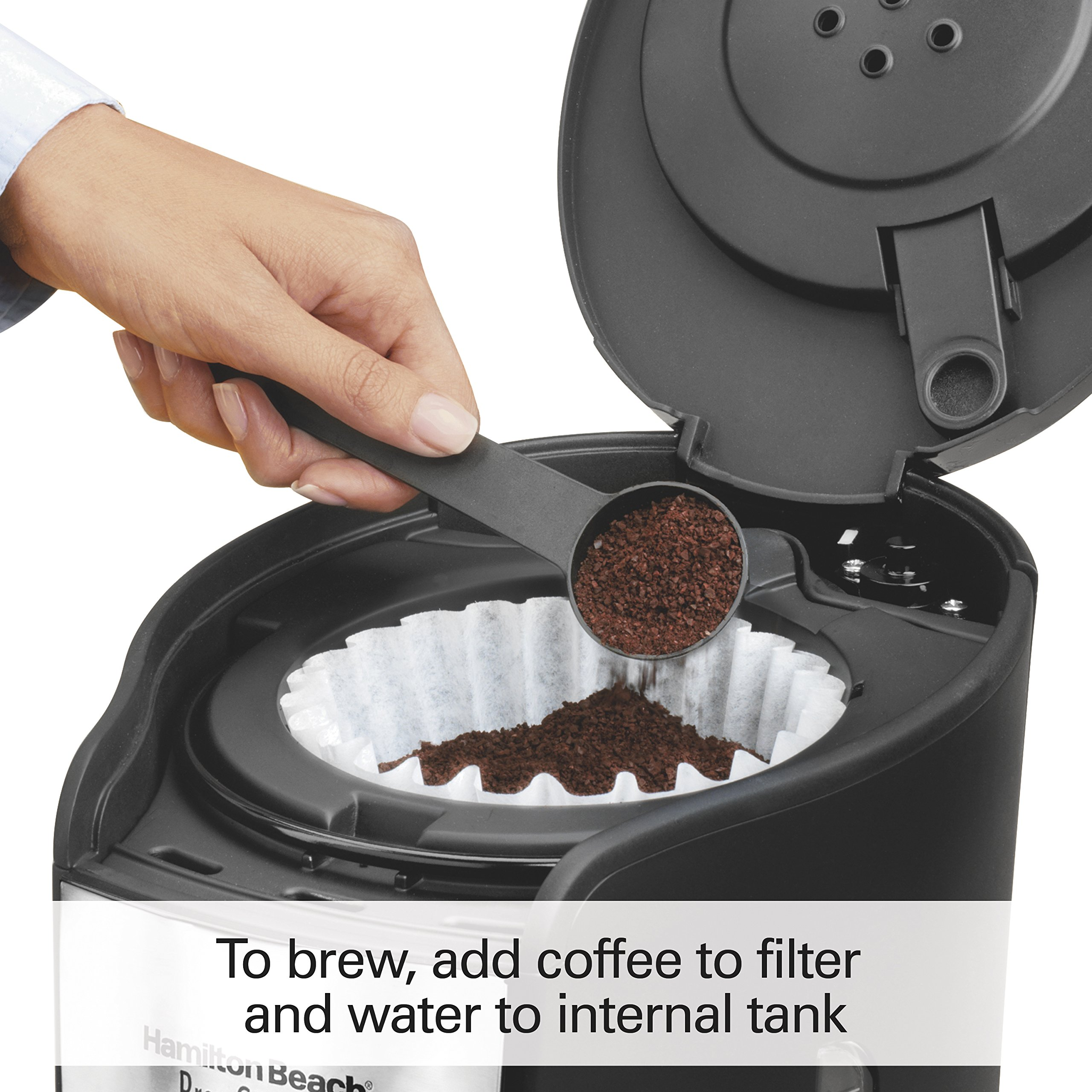 Hamilton Beach (48464) Coffee Maker with 12 Cup Capacity & Internal Storage Coffee Pot, Brewstation, Black by Hamilton Beach (Image #5)