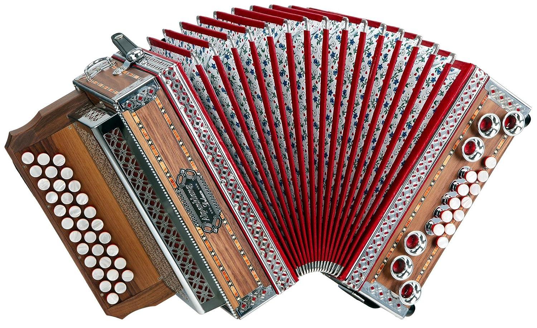 Alpenklang 3/II Harmonika Deluxe B-Es-As Nuss (Steirische Harmonika/Knopfakkordeon, Blumendesign, Holz, mit Koffer und Riemen) 3/II Dlx B-Es-As