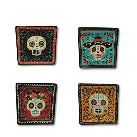 Set of Four - Red, Blue, Yellow /& Black Sugar Skull Plates Set of Four 7 x 7 Square Melamine Plates Day of The Dead