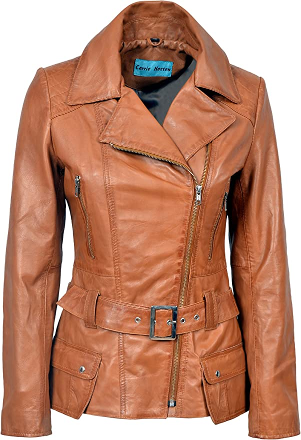 FEMININE Ladies TAN Fur Hood Vintage Real Leather Jacket Classic Fashion 2812