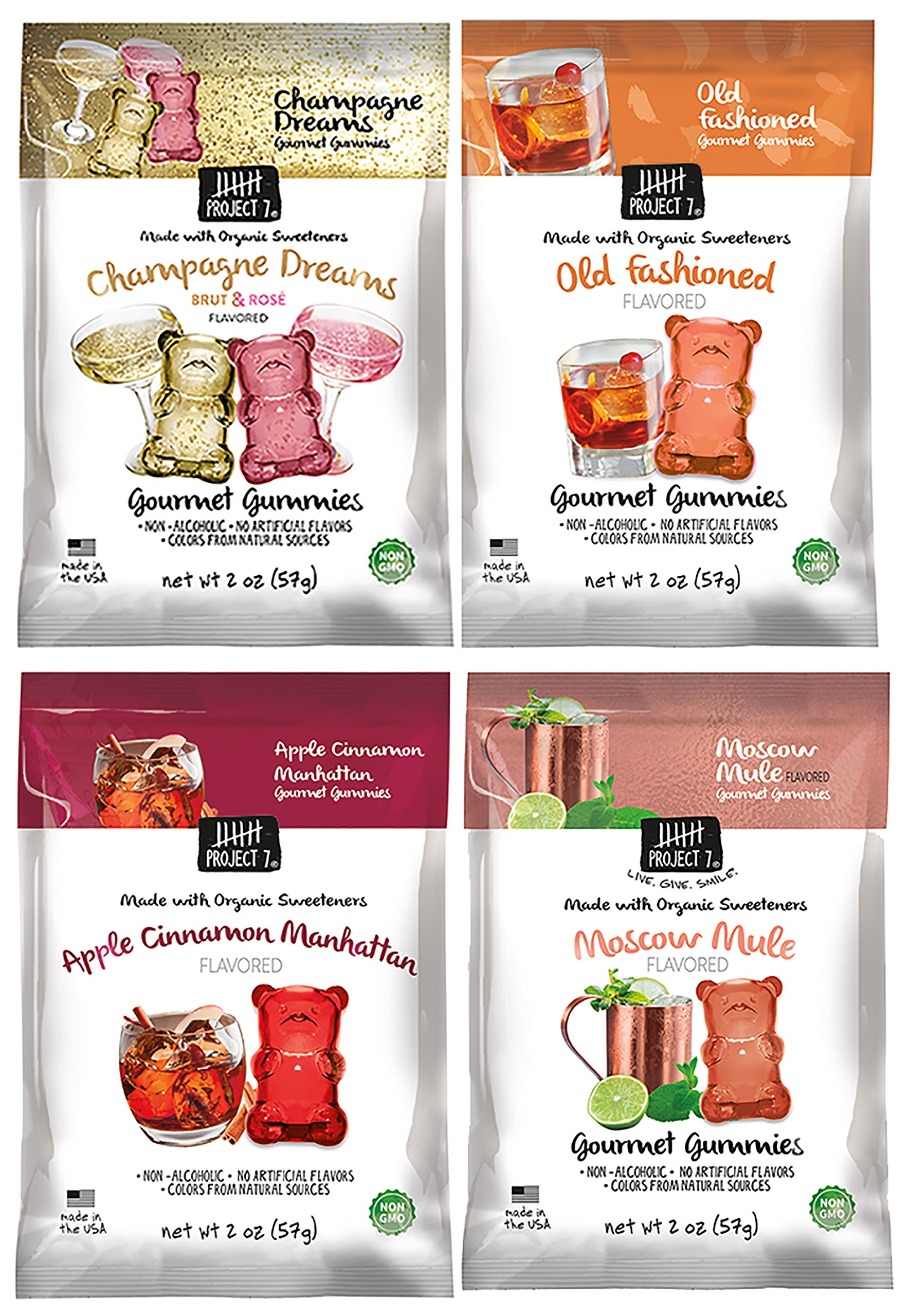 Project 7 Non-Alcoholic Gourmet Cocktail Flavored Gummies (Moscow Mule, Champagne Dreams, Apple Cinnamon Manhattan, and Old Fashioned, 2 oz) by Project 7